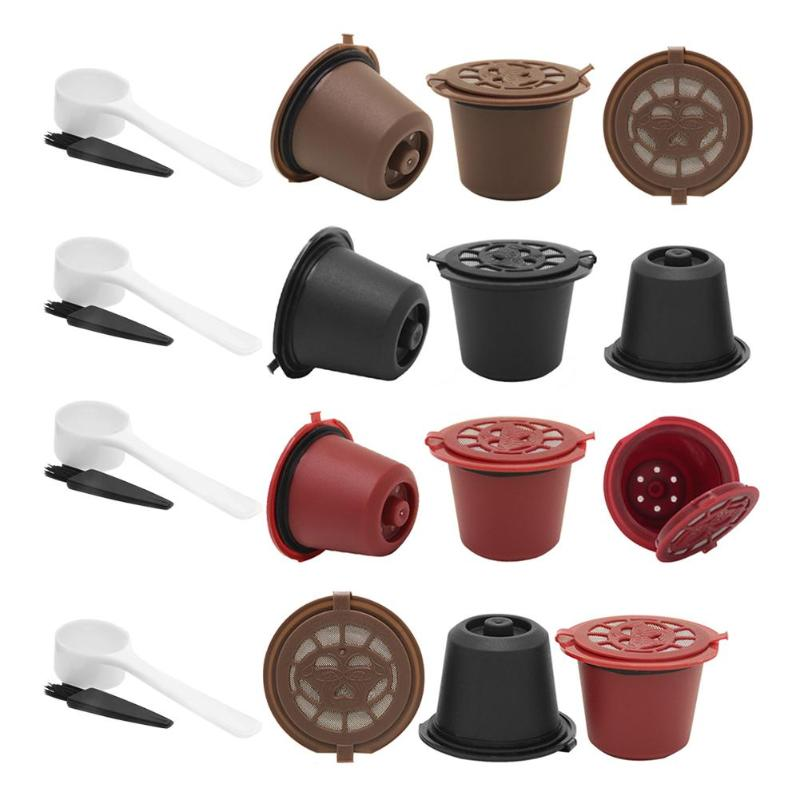 3pcs Coffee Filter Refillable Reusable Coffee Capsule Filters For Nespresso Coffee Machine With Brush Spoon Kitchen Accessories