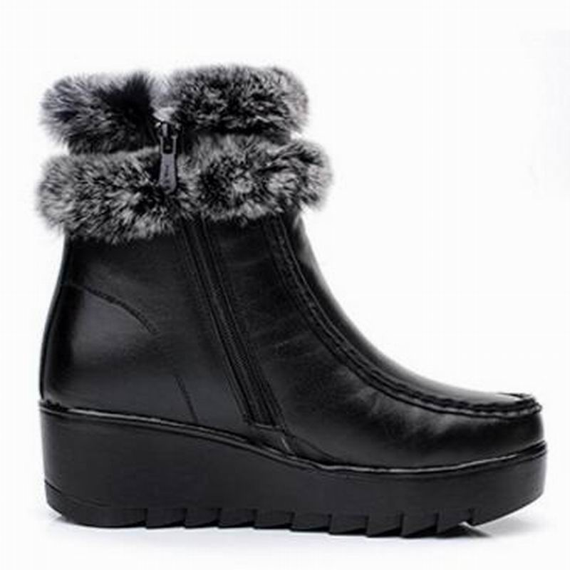 Piel Tobillo Genuino Vaca Cremallera 2018 Negro Botas Yaerni Nieve Zapatos Mujer De E394 Invierno Cuero Peluche XqwP57