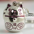 Lucky cat gift solid metal male women's car keychain key chain key ring