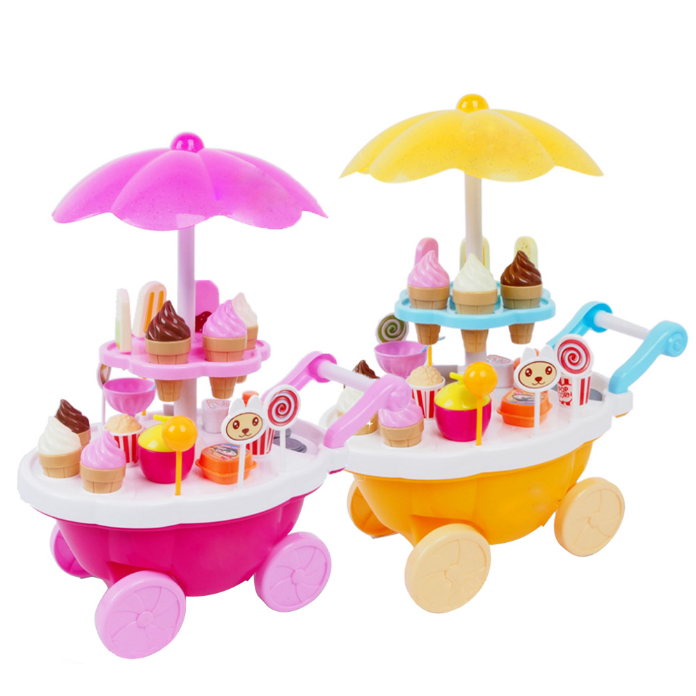 Children Kid Simulation Small Carts Miniature Sweet Candy Ice Cream Cart Shop Supermarket Playing Educational Home Toy Brinquede ice cream cart toy