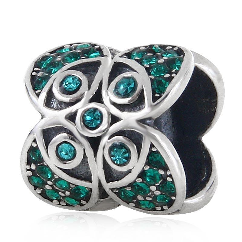 39c679ac250c Se adapta a Pandora encantos pulsera 925 de plata del encanto original de  la flor perlas con CZ verde piedra DIY joyería que encuentra el envío libre
