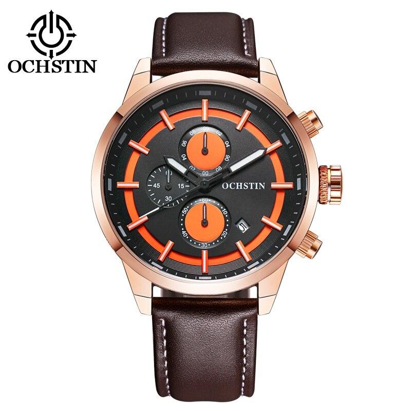OCHSTIN Brand Watches Men's Top Luxury Design Military Leather Band Sports Sculpture Dial Wrist Watches Men Quartz Wristwatches