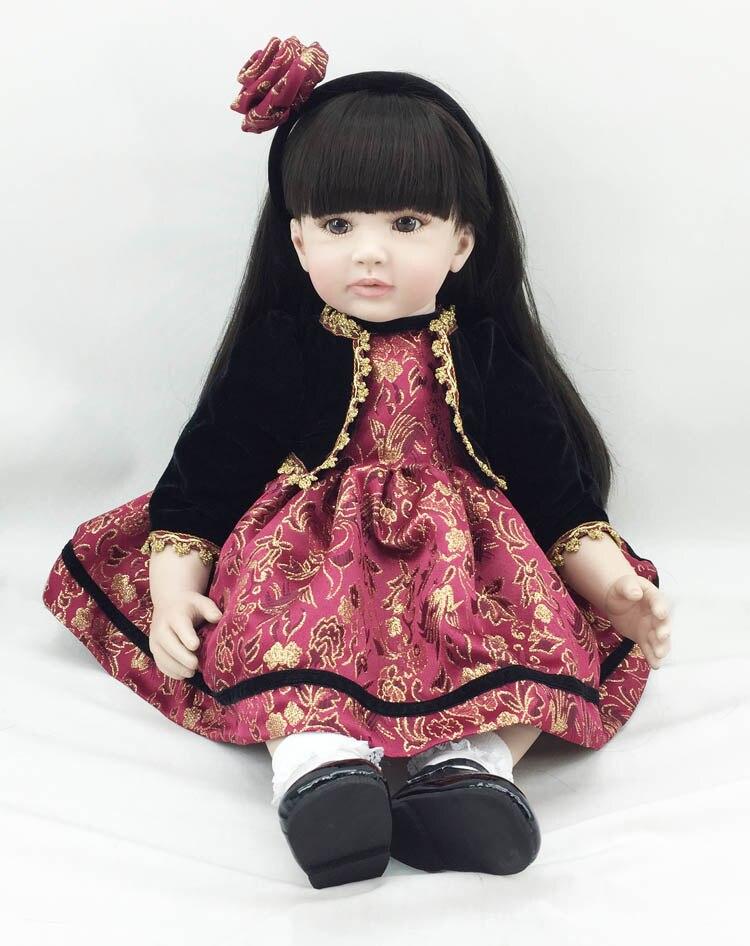 Fashion reborn vinyl silicone baby dolls accompany sleeping handmade lifelike princess toddler doll kid christmas birthday gifts