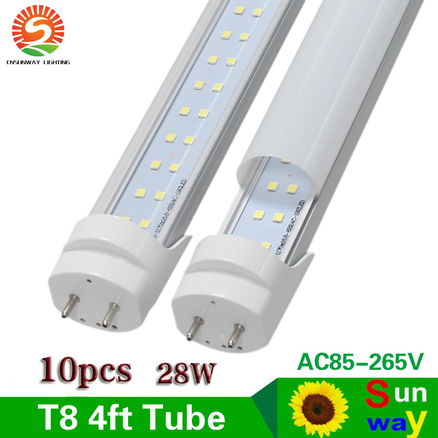 Sunway 4 Ft Led Tube Lights T8 28w 120cm 4ft Light Ac85 Bulb Fluorescent Fixture Wiring Diagram 265v G13 Smd2835 Super Bright 2800lm 10pcs Lot In Bulbs Tubes From