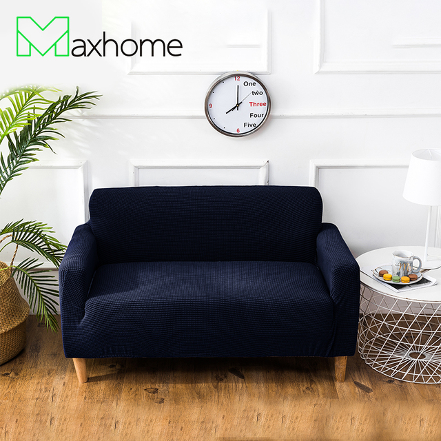 Elastic Sofa Cover Stretch Navy Blue Couch Furniture Protector Polyester Fabric Loveseat For Living Room