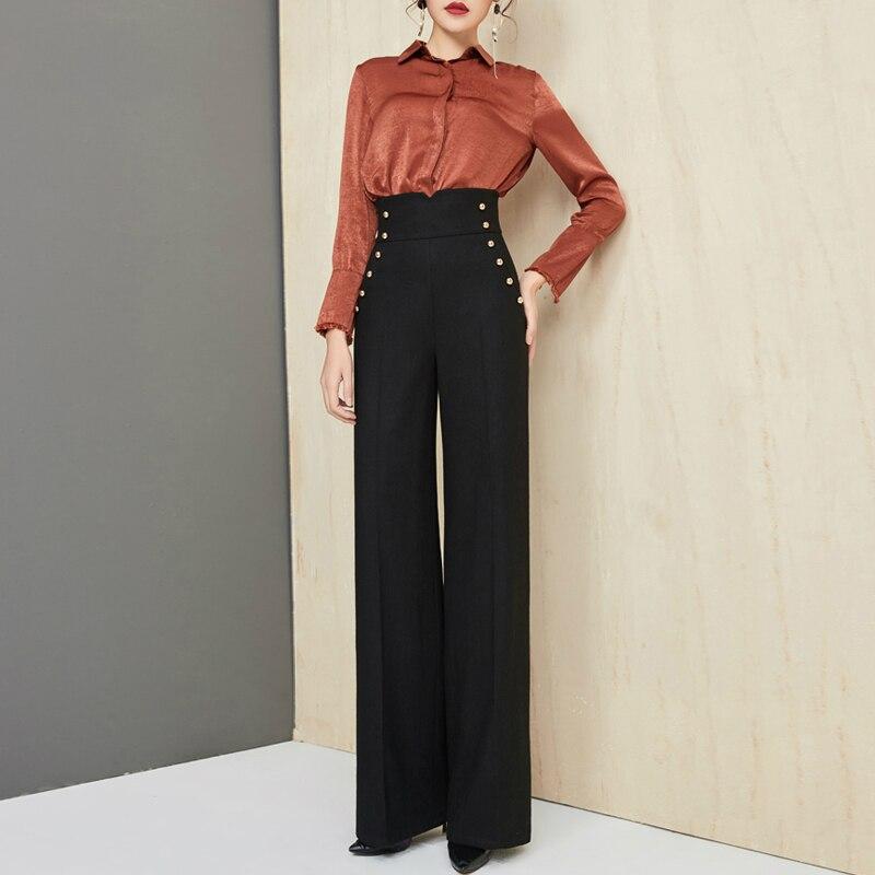 Pantalon large en laine taille haute pantalon Slim pantalon 2018 Cargo pantalon femme Streetwear femme pantalon femme vêtements grande taille