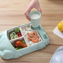 Car Shaped Dinnerware Plate Set for Toddle Kids and Toddlers FDA Approved Bamboo Fiber Food Dishes Tray Child Christmas Gift