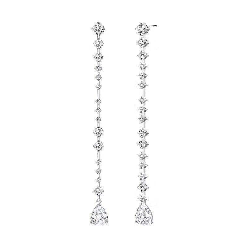 Célèbre longue chaîne gland goutte d'eau boucles d'oreilles en cristal design élégant 100% 925 en argent sterling boucles d'oreilles coréennes pour les femmes bijoux