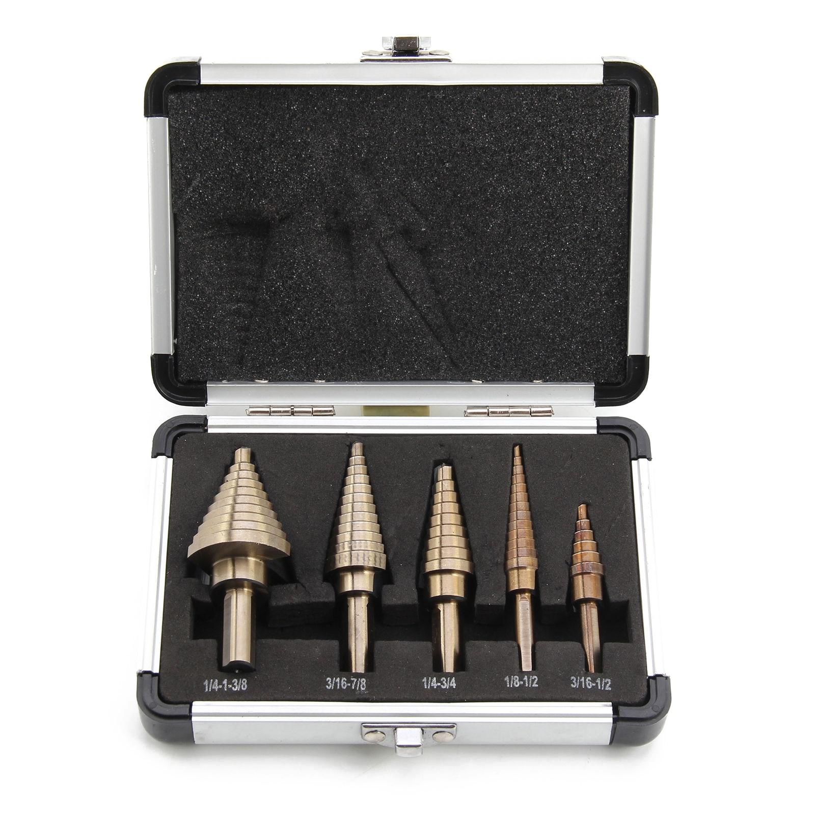 New 5 Pcs Large Titanium HSS Step Cone Drill Hole Cutter Bit Set Tool + Case