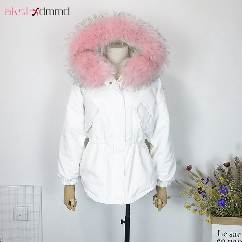 AKSLXDMMD Student Casual BF style Loose Parka Cotton Coat Women 2017 New Winter Big Fur Collar Hooded Thick Winter Jacket LH1160 akslxdmmd casual thick winter jacket women parka 2017 new fur hooded long coat female solid color overcoat lh1203