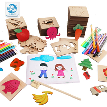Wooden drawing toys set school paint tools Drawing toy board Paint Tools Educational Coloring Book Paint Learning Coloring cheap Logwood 3 years old Unisex Paint Learning Notebook Coloring Notebook Drawing Board Be careful of tiny unit and avoid to swallow it