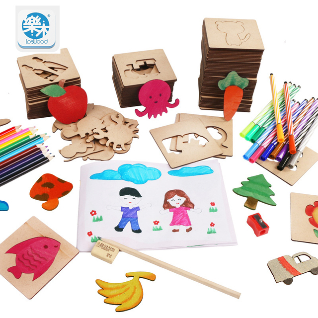 Wooden drawing toys set school paint tools Drawing toy board Paint Tools Educational Coloring Book Paint Learning Coloring