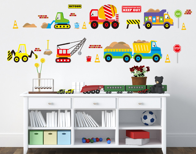 free shipping diy new carton car toy wall sticker for kids boy room