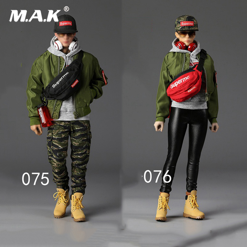 For collection 1/6 Scale F-075/076 Street Style Flight Jacket Set Set F 12'' male/ Female Body Collections 1 6 fashion custom air force jacket set punk jacket set with canvas bucket bag f 12 inches g dragon male body action figures