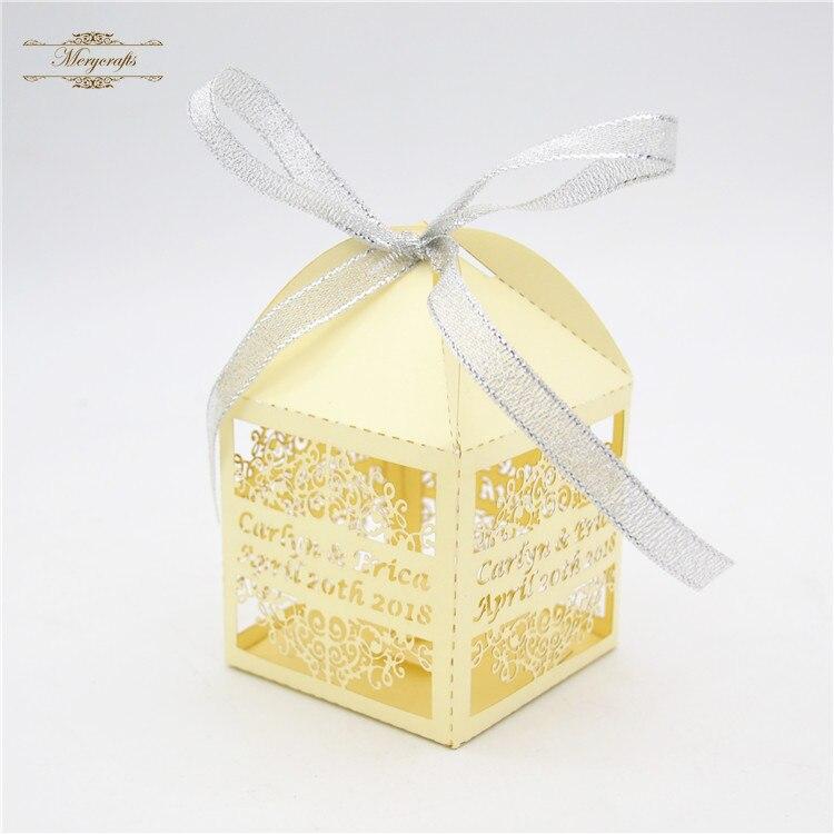 Custom Design Lace Flower Laser Cut Metallic Gold Wedding Cake Box