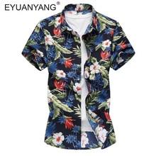 fe8e4cef6fb EYUANYANG Camisa hombres ropa de manga corta camisas de vestir Camisa  Masculina verano Hawaii Casual impresión