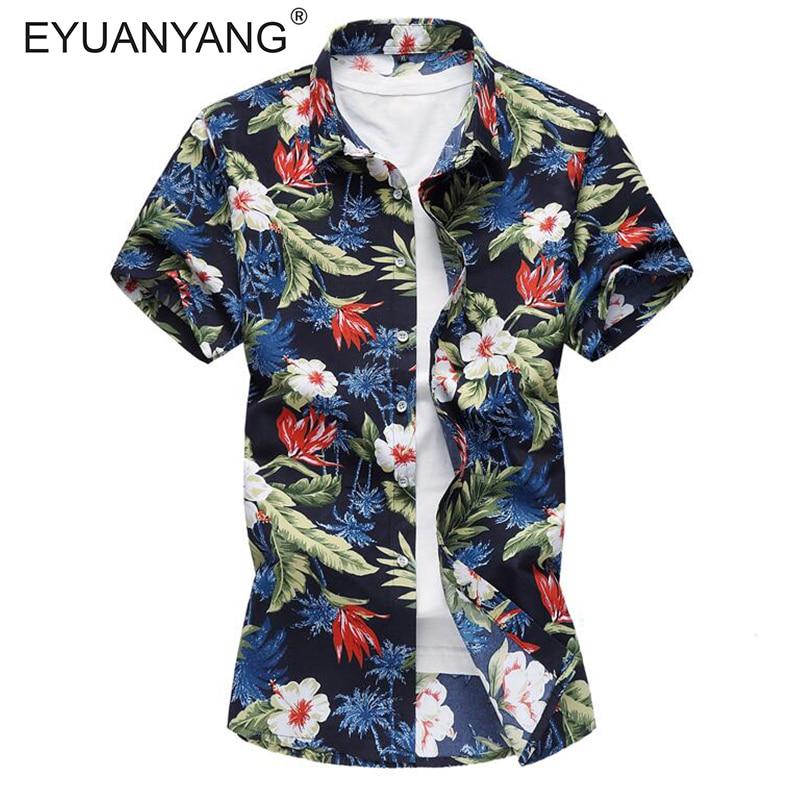 EYUANYANG Shirt Men Clothing Short Sleeve Mens Dress Shirts Camisa Masculina Summer Hawaii Casual Male Flower Print Shirt 7XL