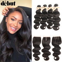 Debut Mongolian Hair Weave Bundles With Closure Body Wave 3/4 28 Inch Human Hair Bundles With Closure Non Remy Hair Extension