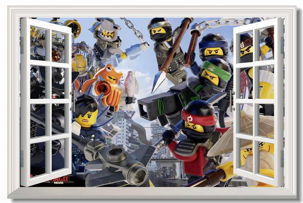 Custom Printing Canvas Wall Mural Ninja Warriors Poster The Lego Movie Wallpaper 3D Window Sticker Kid Bedroom Decoration #0776#