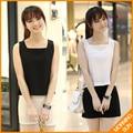 New arrival 2017 hot sale mulheres casual verão coreano sexy branca sem mangas preto curto sarafan tanque tops camisole vest #178