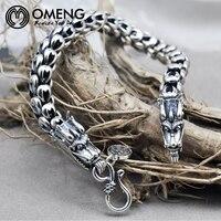 OMENGTop Grade Men Dragon Bracelet Pure 925 Sterling bracelet silver 925 Jewelry Men Thai silver bracelet for men Jewelry OSL064