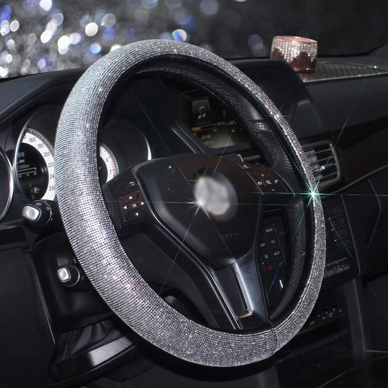 Luxury Full Diamod Rhinestone Leather Auto Steering Wheel Cover General Anti-slip D shape Crystal Car Steering Cover for Women