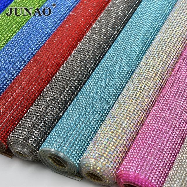 JUNAO 24*40 ซม.Glitter Clear ABแก้วRhinestoneตาข่ายHotfixคริสตัลผ้าแผ่นStrassริบบิ้นAppliqueสำหรับชุดหัตถกรรม