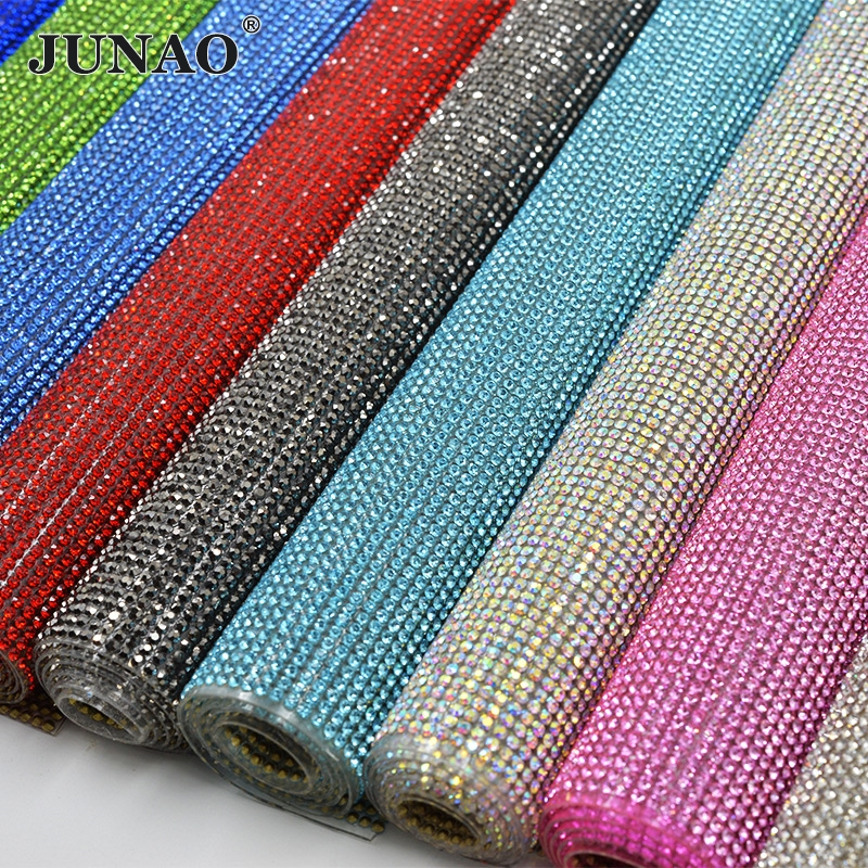 JUNAO 24 * 40cm Hurtigreparasjon Glass Rhinestones Mesh Trim Krystall Fabric Sheet Strass Perler Applique Banding For DIY Kjole Smykker Making