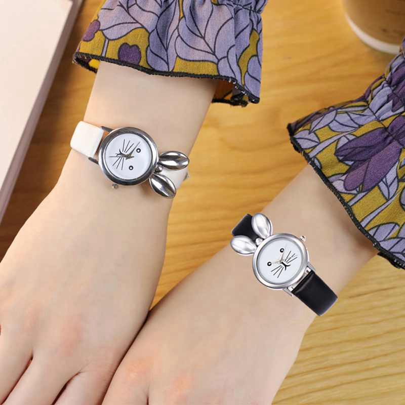 Kid's Fashion 3D Rabbit Pattern Women Watch Luxury Brand Casual Simple Quartz Clock Women Leather Strap Wrist Watch Reloj Mujer
