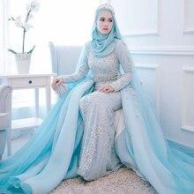 Modest Pearls Evening Dresses Hijab 2017 Long Sleeves Mermaid Skly Blue Prom Gowns Full Sleeves Vestido Longo Muslim Arabic Gown