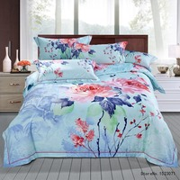 TUTUBIRD Chinese Peony Oil Painting Luxury Soft Tencel Ramie Satin Silk Feeling Bedding Sets Bedlinen Sheets