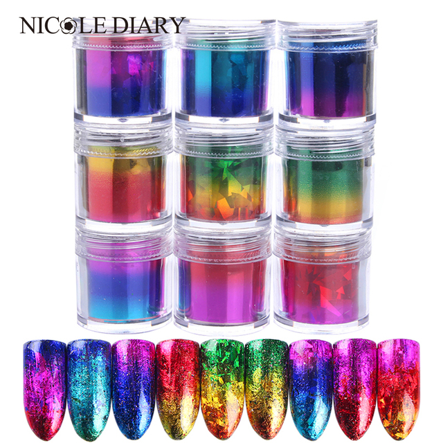 Holographic Starry Nail Foil Paper 9 Colors Gradient Gold Blue Nail Art Sticker 2.5*120cm