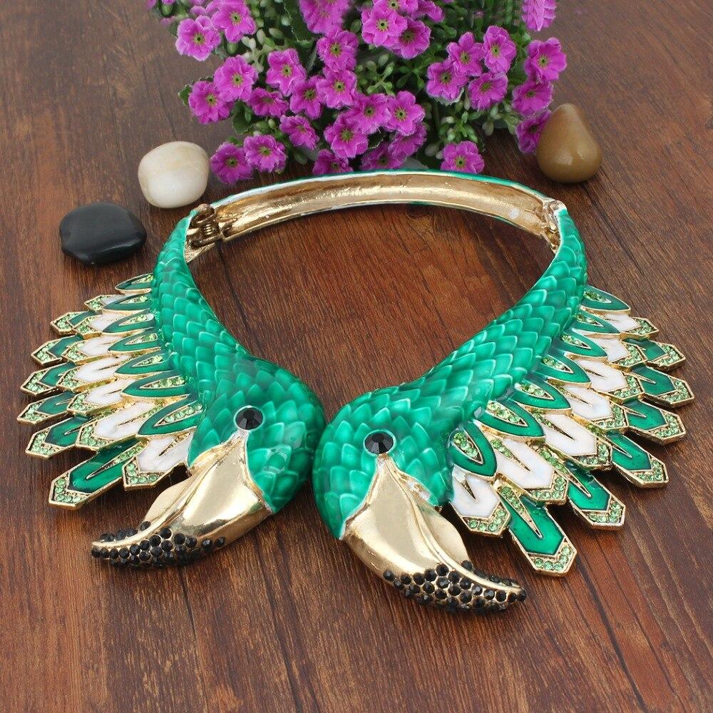 Tuliper émail flamant rose oiseau Animal déclaration collier autrichien cristal strass collier pour les femmes parti bijoux cadeau - 5