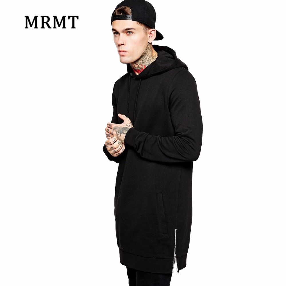 2019 Streetwear Men's Long Black Hoodies Sweatshirts Feece Extra Long Hoody Side Zip Longline Hip Hop Elongated For Men Hoodie