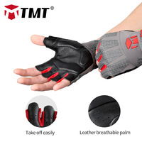 TMT Leather Gloves Gym Weight Lifting Equipment Sports Exercise Summer Fitness Dumbbells Weightlifting Breathable Gloves Men