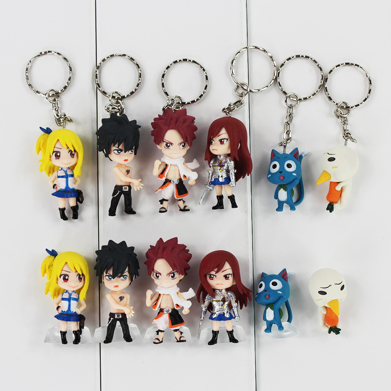 6pcs/lot 3-5cm Fairy Tail Figure Toy Lucy Natsu Gray Happy Erza Scarlet Mini Keychain Pendant