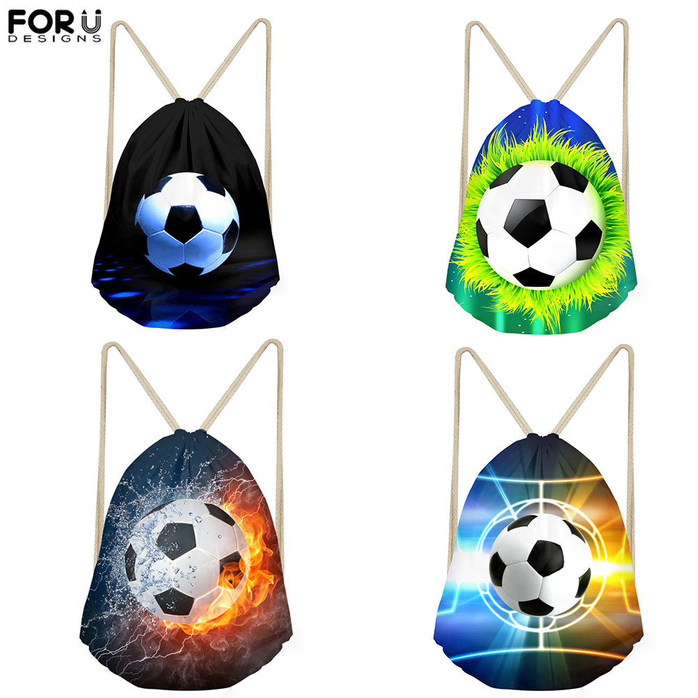FORUDESIGNS Small Drawstring Bag Cool Football Pattern Style Gym Sack Kids Backpack Strap Men Travel Storage Bags For Teen Boys