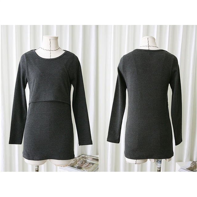 Autumn 2016 New Slim fit Maternity Solid color round neck long-sleeved shirt nursing Pregnant women breastfeeding tops