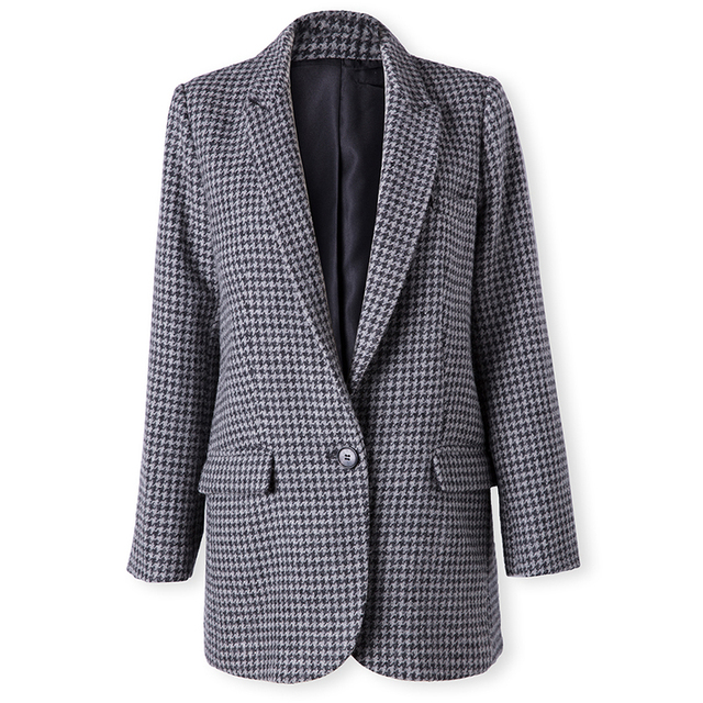 Kohuijoo 2018 Autumn Winter Women S Wool Blazer Jacket Ladies High
