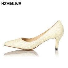 GGOB Luxury Pearl Wedding Shoes Woman High Heels Sheepskin Lining Pumps  2018 Designer Women Bridal Shoes Genuine Leather fe939ca09065