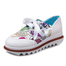 DoraTasia Fashion Big Size 34-43 Lace Up Casual Shoes Woman Cartoon Print Med Heel Skidproof Women Pumps
