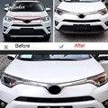 Tonlinker наклейки для TOYOTA RAV4 2016-18 автомобильный Стайлинг 1 шт. ABS хромированные гоночные грили передняя крышка логотипа наклейки