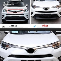 Tonlinker Cover Stickers for TOYOTA RAV4 2016 18 Car Styling 1 PCS ABS Chrome Racing grills Front Logo position Cover Stickers