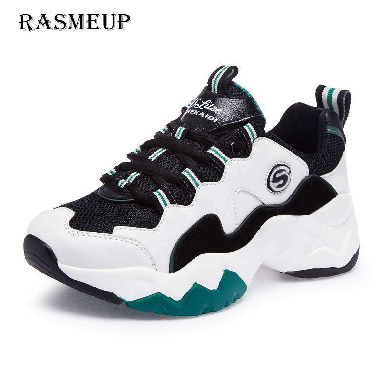 RASMEUP Genuine Leather Womens Clunky Sneakers 2019 Spring Panda Fashion Women Comfortable Dad Shoes Platform Woman FootwearRASMEUP Genuine Leather Womens Clunky Sneakers 2019 Spring Panda Fashion Women Comfortable Dad Shoes Platform Woman Footwear