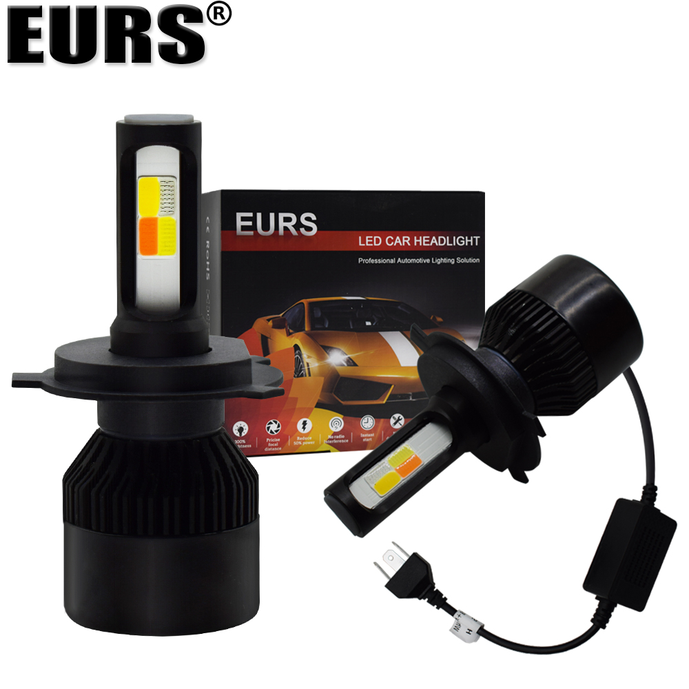 EURS S2 Headlight Bulb H4 Led H1 H7 H11 9005 HB3 9006 HB4 60W Car Headlight Led High Power White Pink Blue Yellow Car Styling