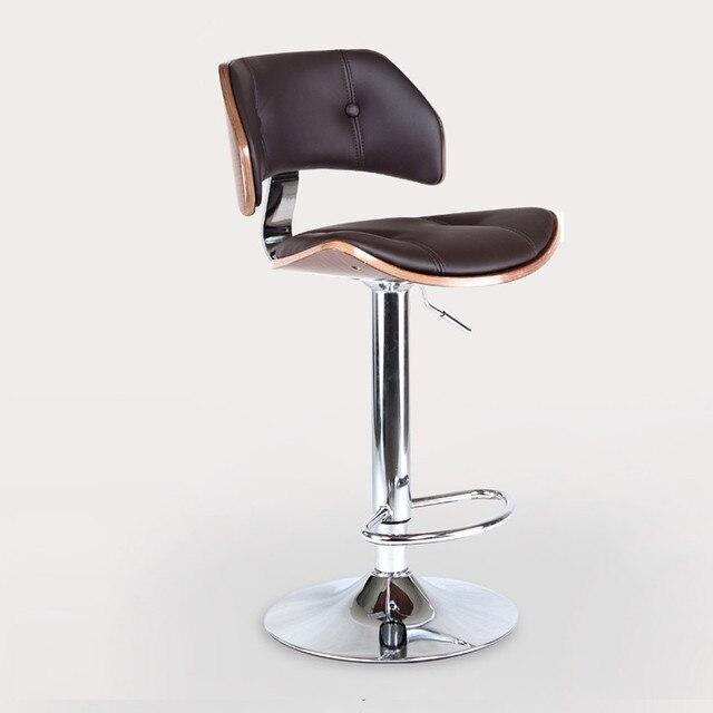 Nogal madera curvada altura ajustable silla taburete W/botón tufted ...