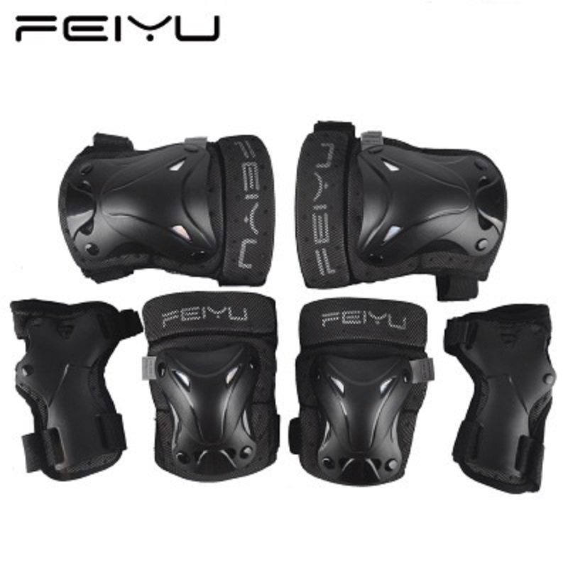 6 PCS Children Cycling Roller Skating Knee Elbow Wrist Protective Pads Butterfly Shaped Protector Black