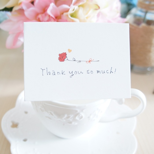 50pcs Mini thank you Card message cards simple design Lucky Love