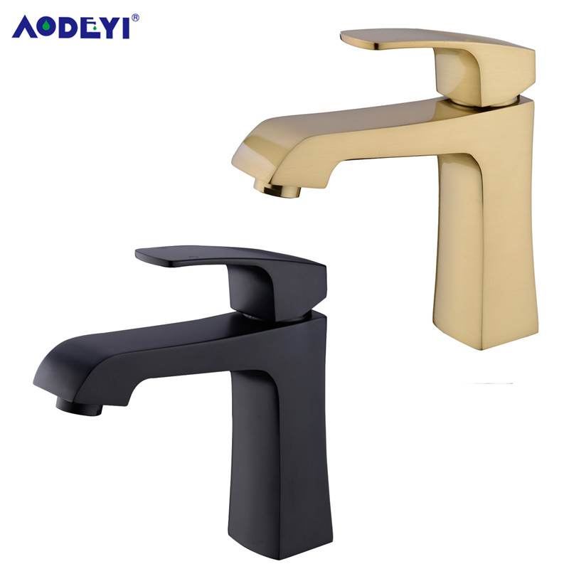 AODEYI Solid Brass Bathroom Basin Faucet, Hot and Cold Water Mixing Vessel Tap Brushed Gold or Black Square Lavatory Taps 12-038 юбка water birds 038 2015