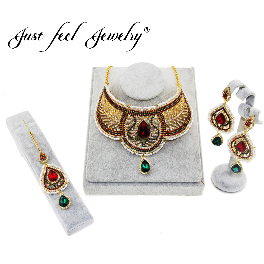 JUST FEEL Hot 3pcs Jewelry Set Classic Imitation Pearl Gold Color Choker Ethiopian Clear Crystal Earrings for Women Party GiftsJUST FEEL Hot 3pcs Jewelry Set Classic Imitation Pearl Gold Color Choker Ethiopian Clear Crystal Earrings for Women Party Gifts